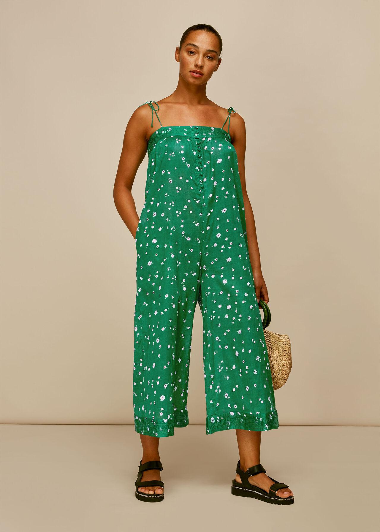Primula Print Beach Jumpsuit Green/Multi