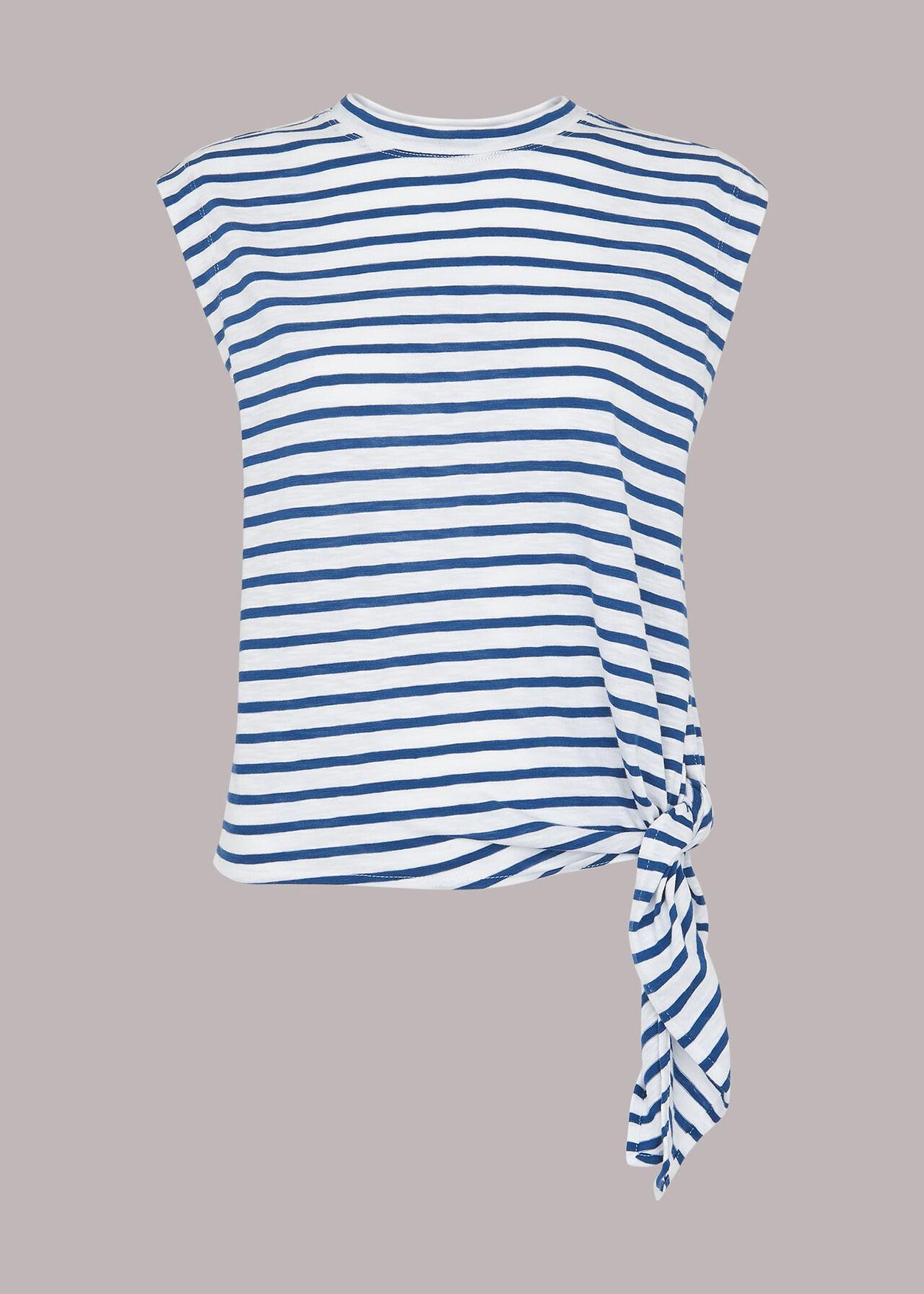 Stripe Sleeveless Side Tie Top
