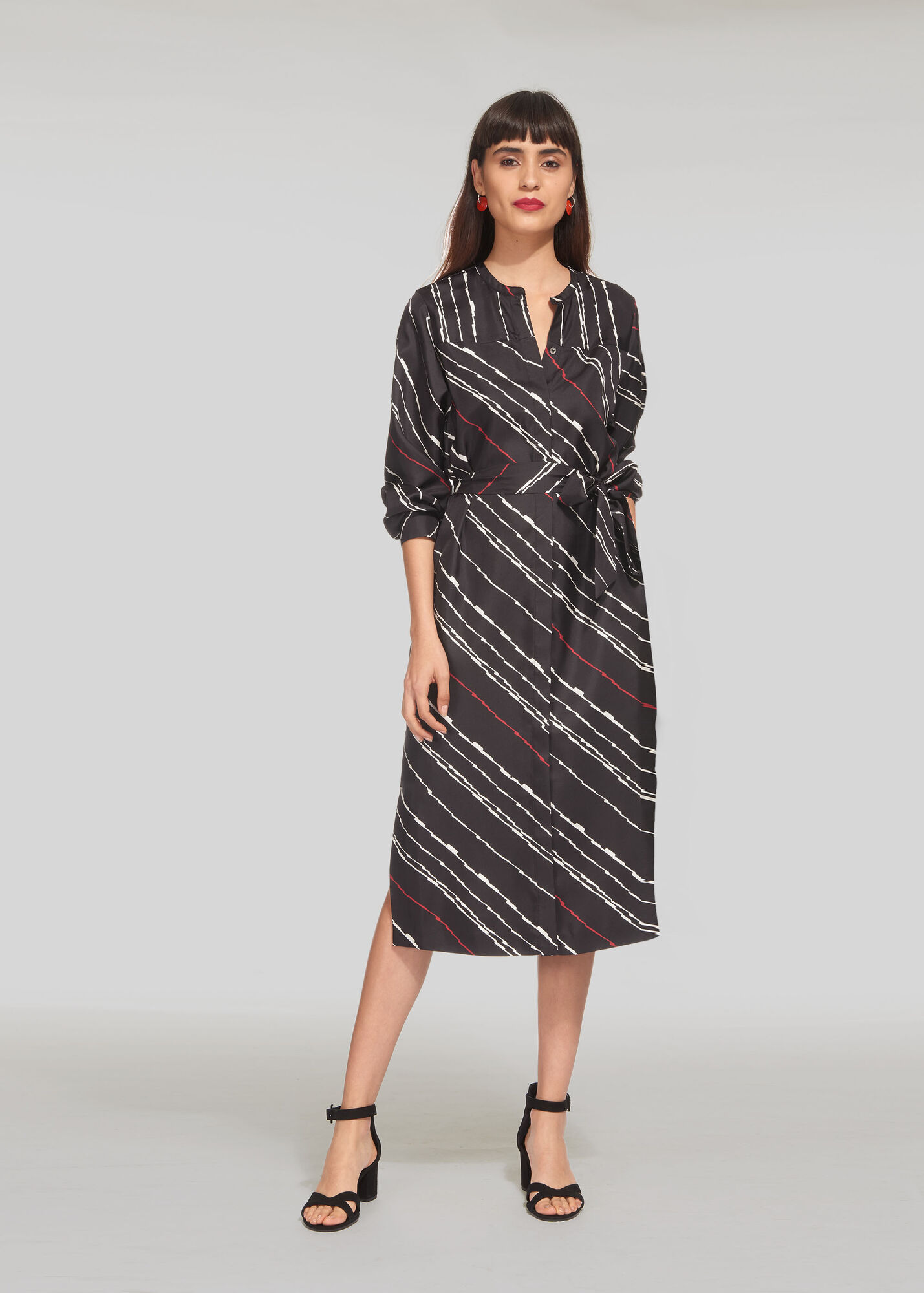 Lightning Print Silk Dress