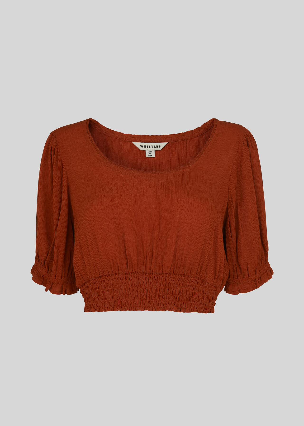 Textured Crop Top Rust