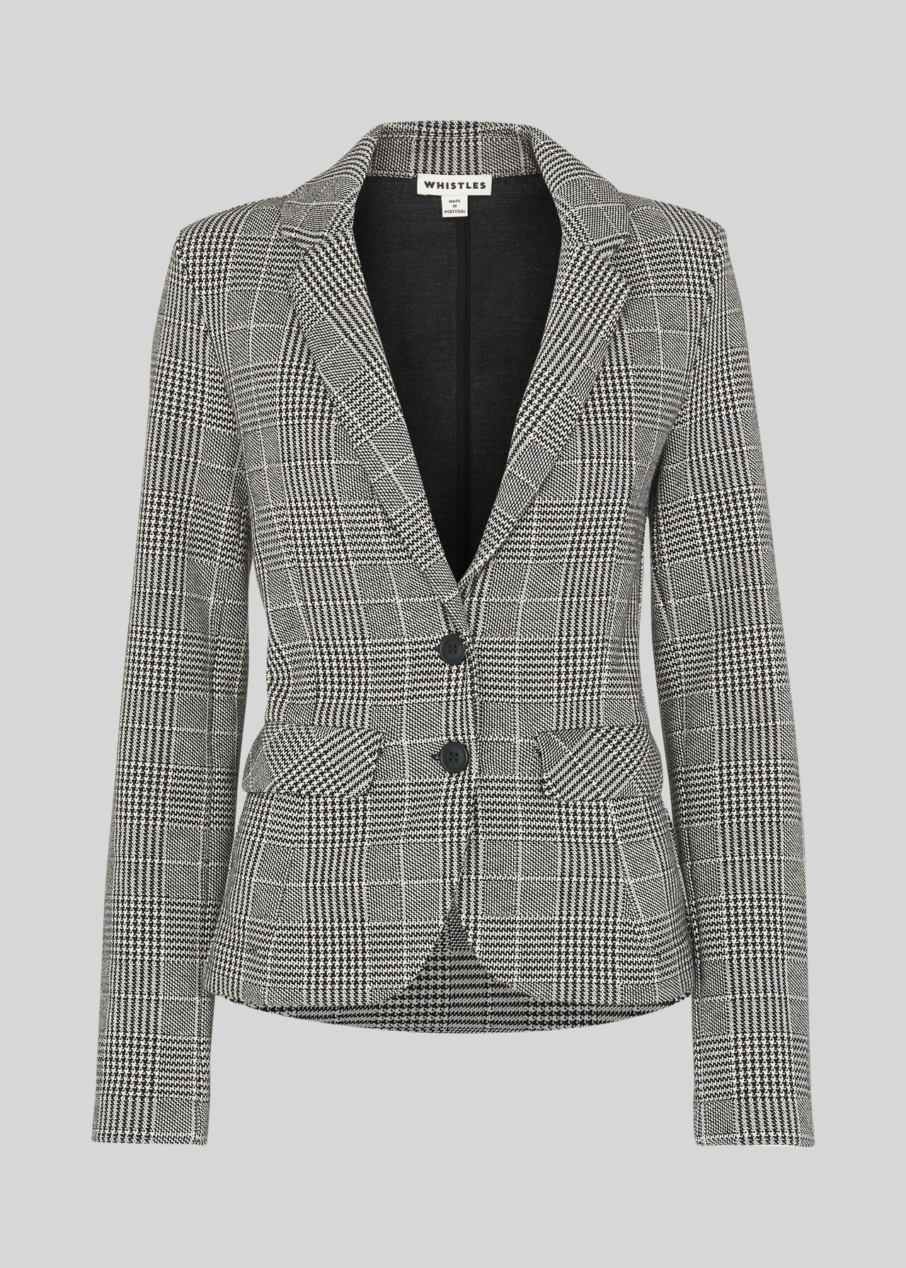 Check Slim Jersey Jacket Black and White