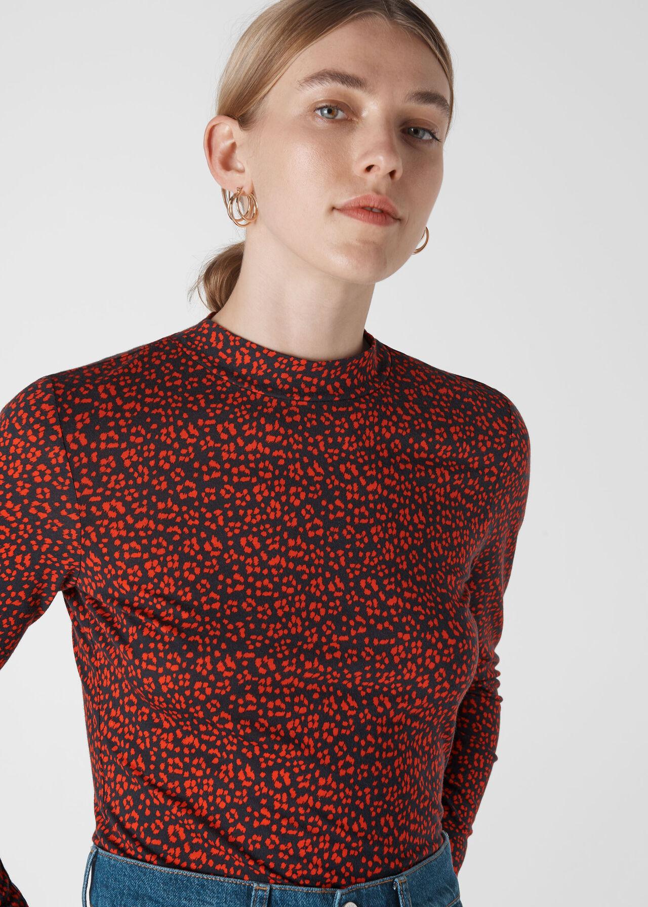 Mini Ikat Print Essential Top Red/Multi