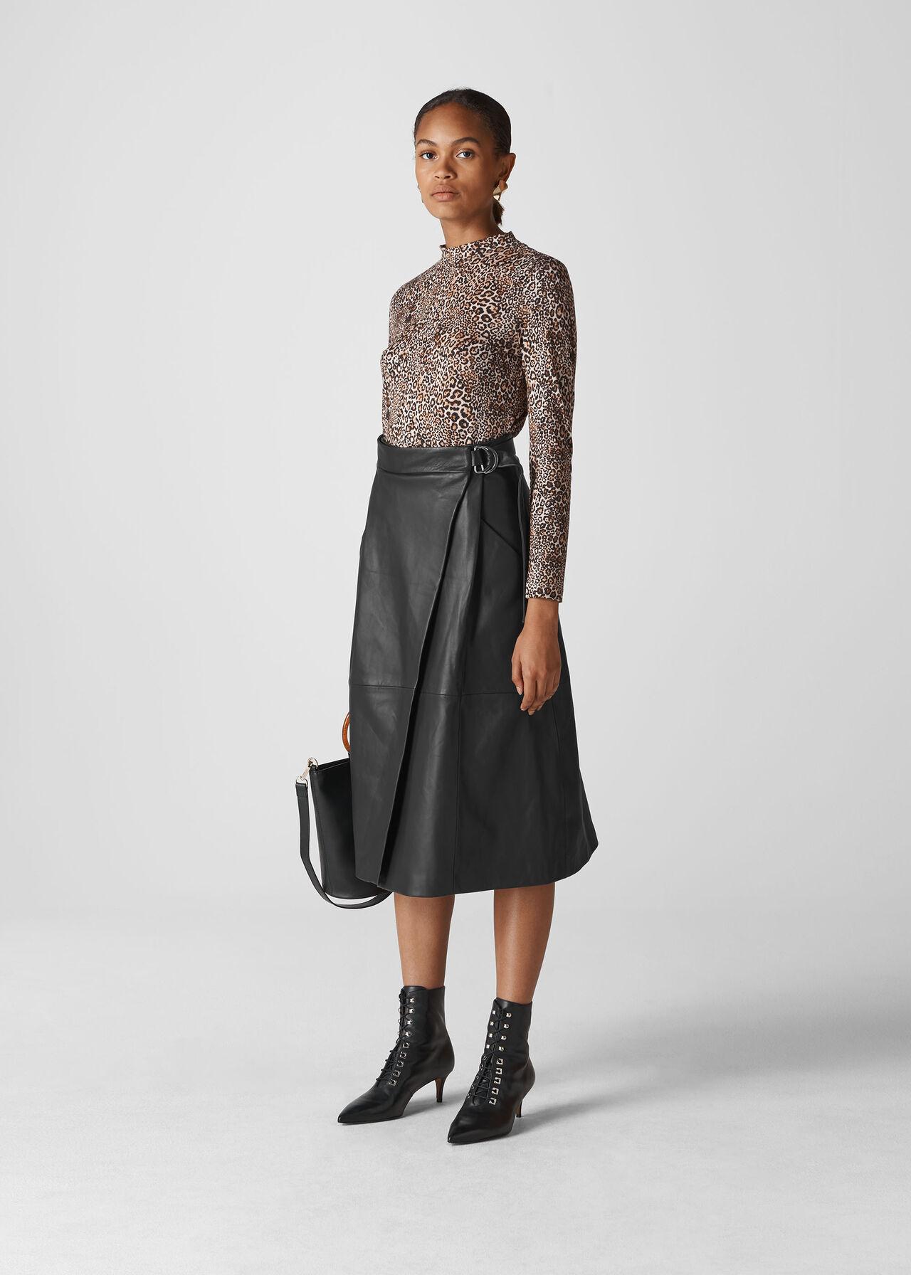 Leather Wrap Midi Skirt Black
