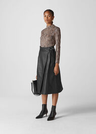 Leather Wrap Midi Skirt Black