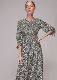 Cheetah Print Shirred Dress