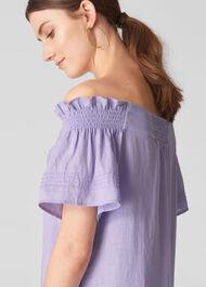 Linen Tie Front Bardot Dress Lilac