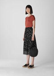 Kuba Print Linen Skirt Black/Multi