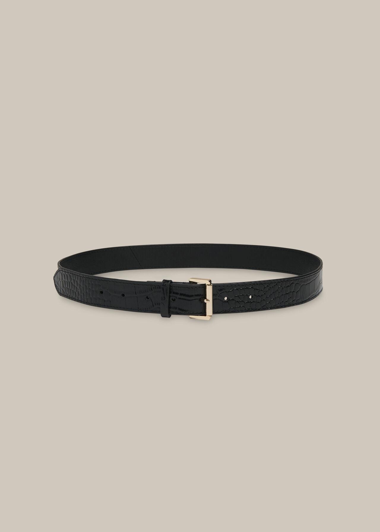 Shiny Croc Belt Black