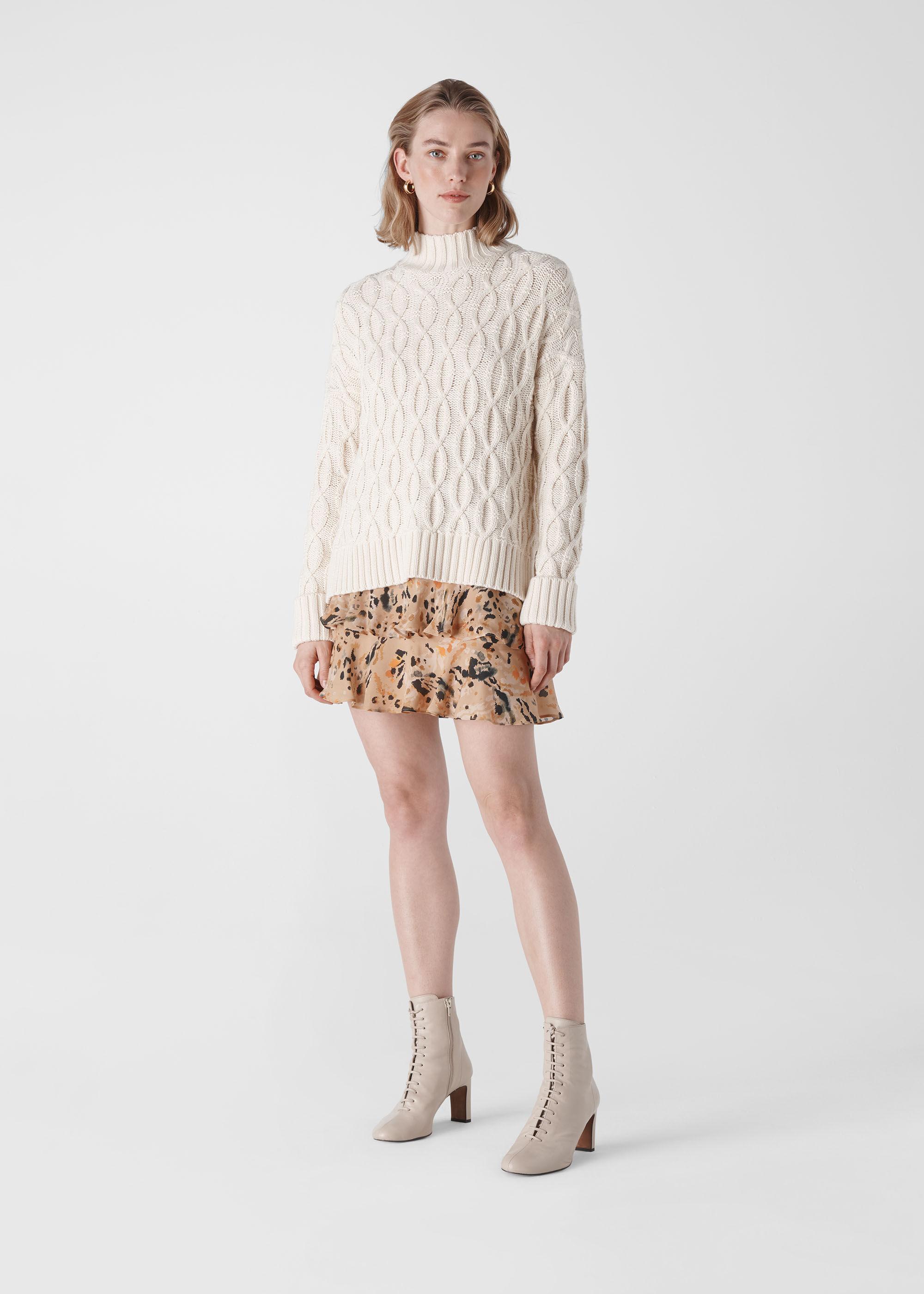 Whistles Women Leopard Print Silk Skirt
