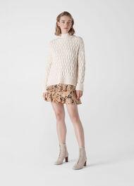 Leopard Print Silk Skirt Multicolour