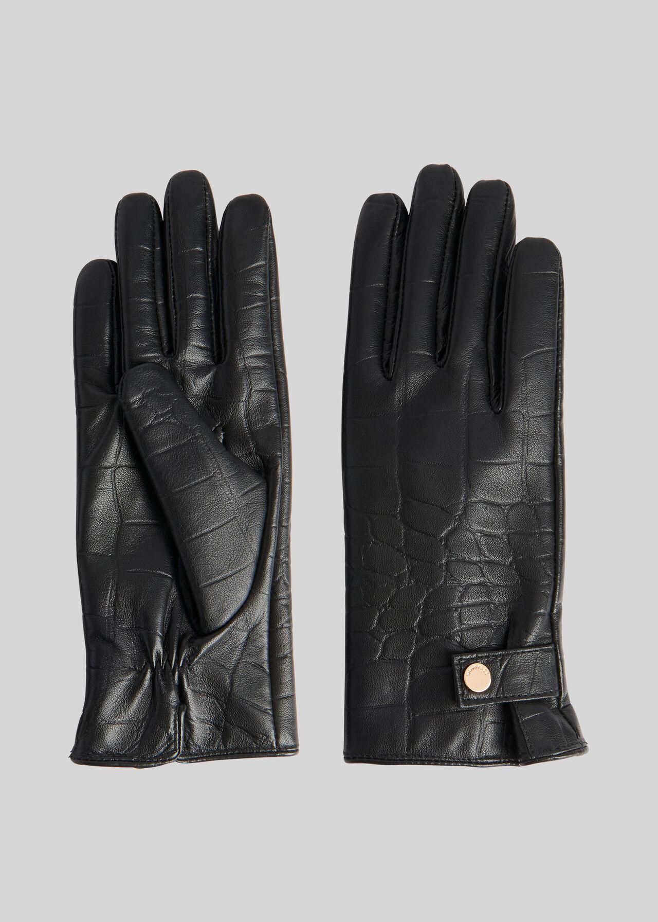 Croc Leather Glove Black