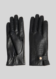 Croc Leather Glove Black