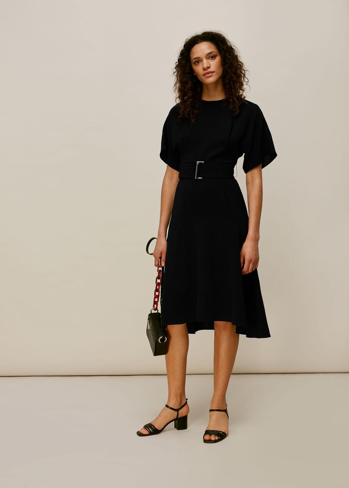 Textured Belted Midi Dress