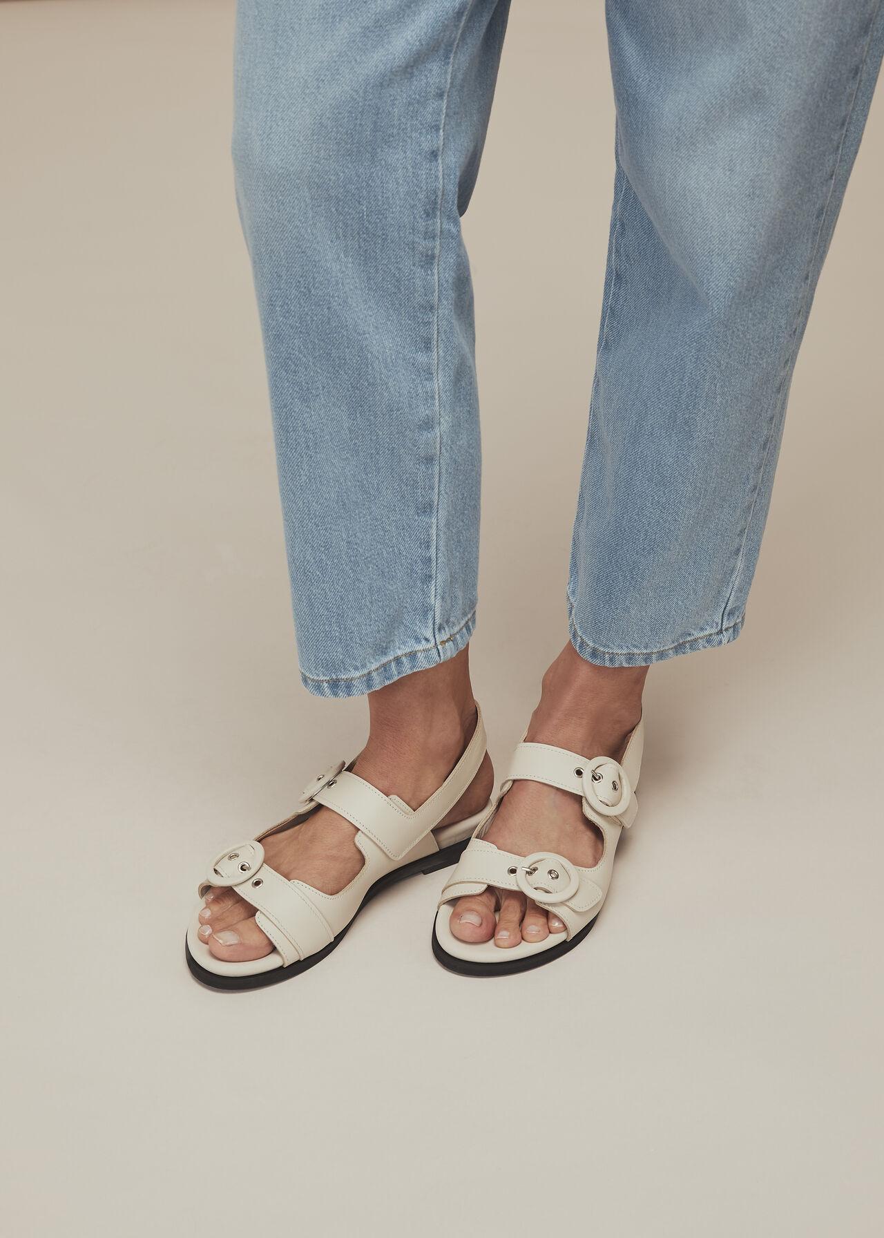 Marcie Double Buckle Sandal Stone