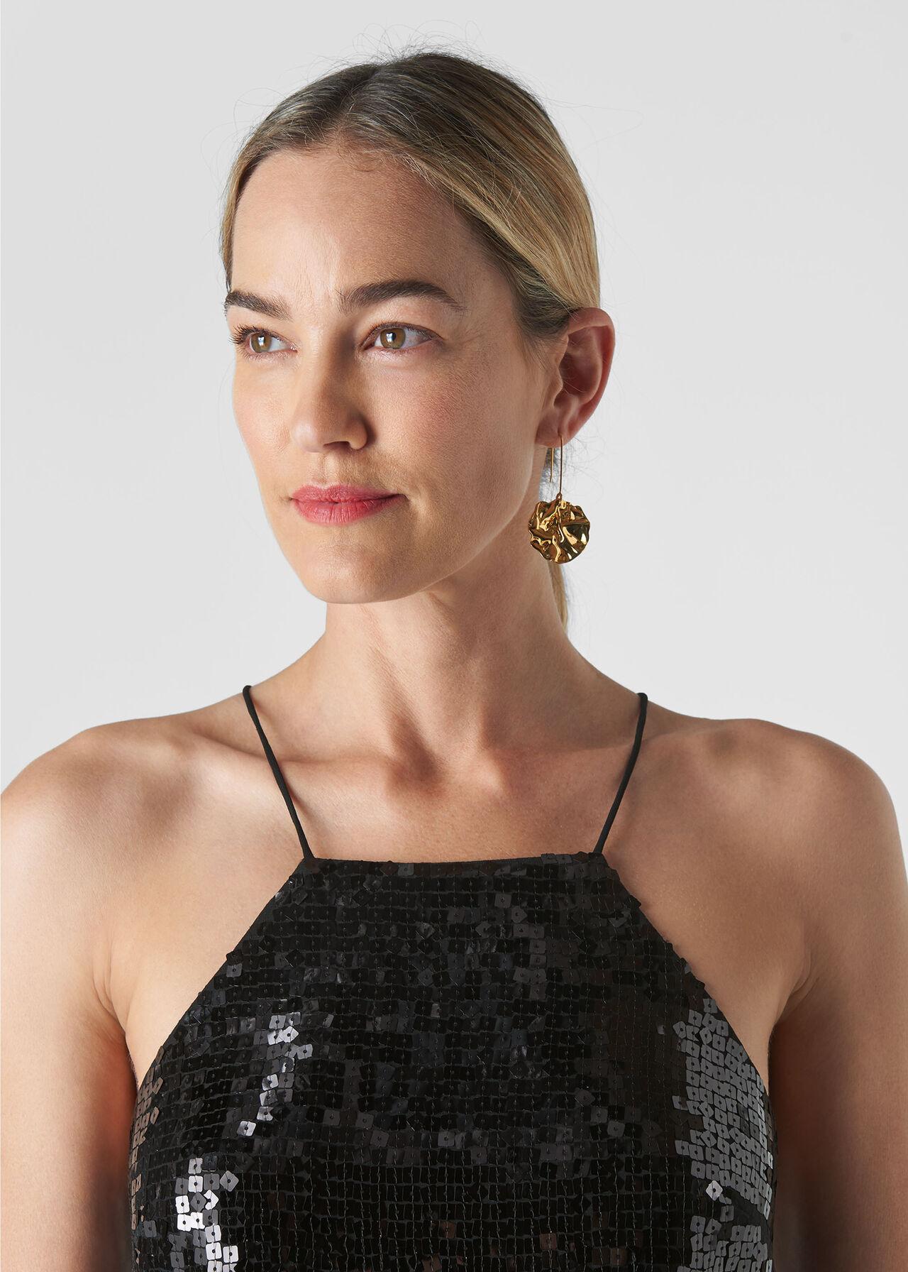 Square Sequin Cami Top Black