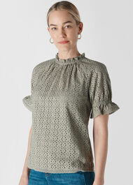 Augustina Broderie Top Pale Green