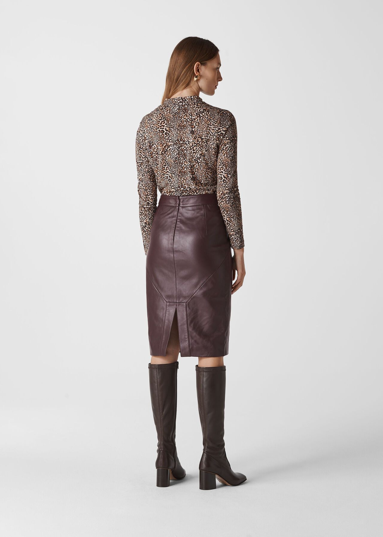 Kel Leather Pencil Skirt Burgundy