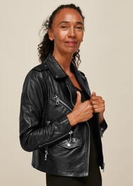 Agnes Pocket Leather Jacket Black