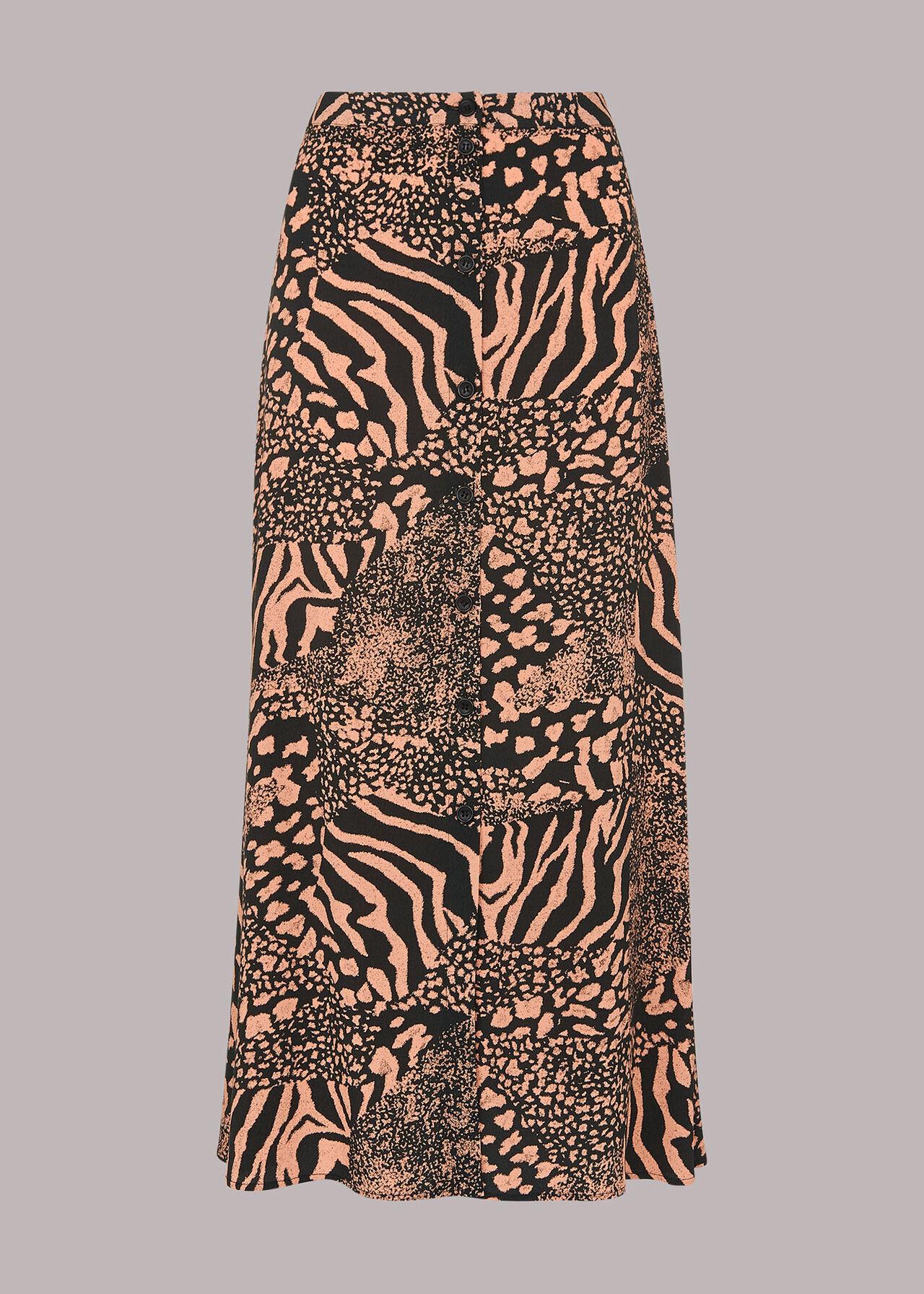 Patchwork Animal Button Skirt