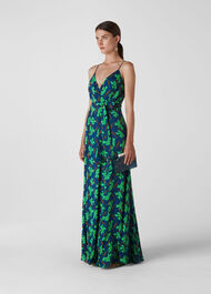 Noa Graphic Clover Maxi Dress Navy/Multi
