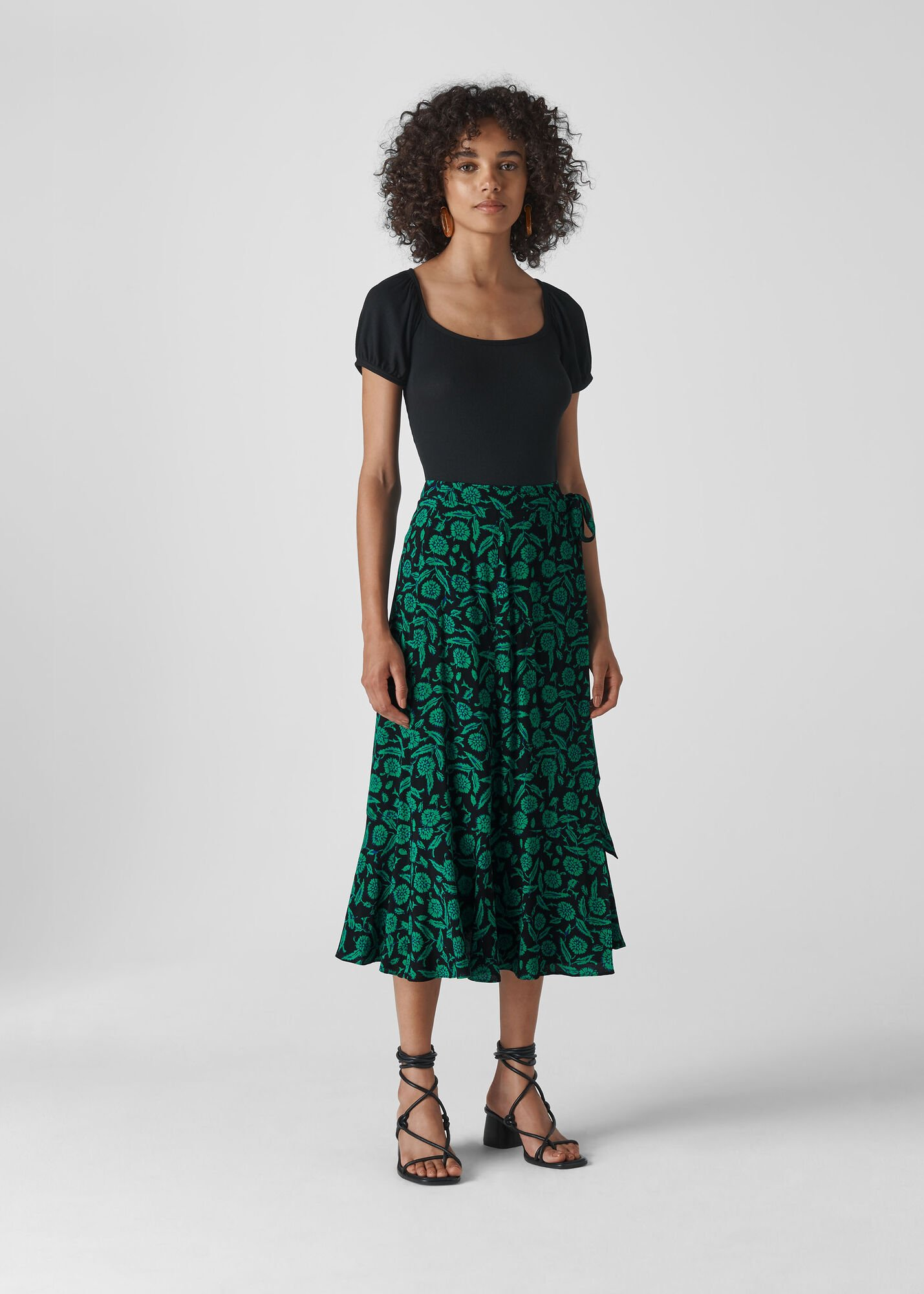 Block Floral Wrap Skirt