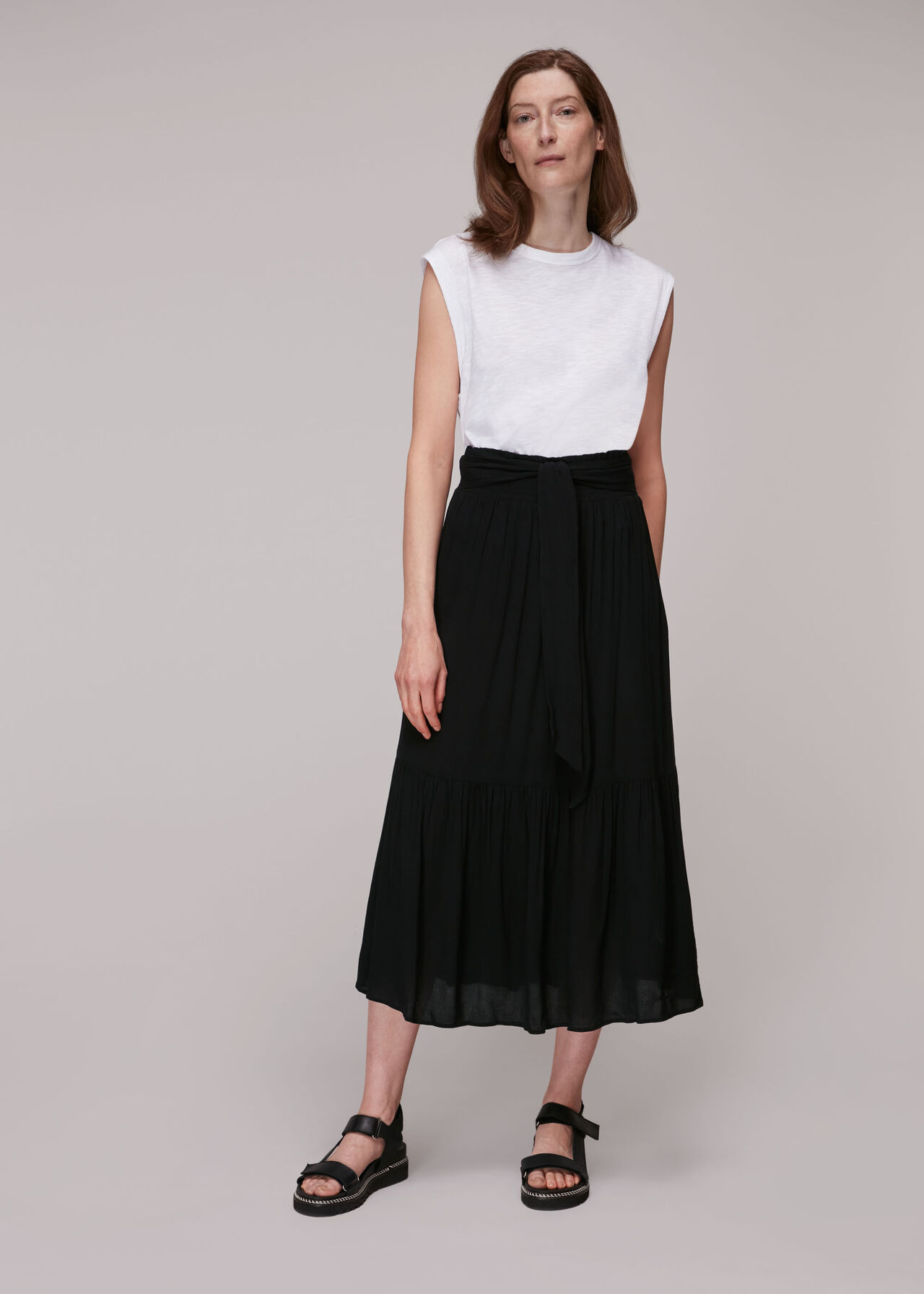Smocked Waist Skirt Black