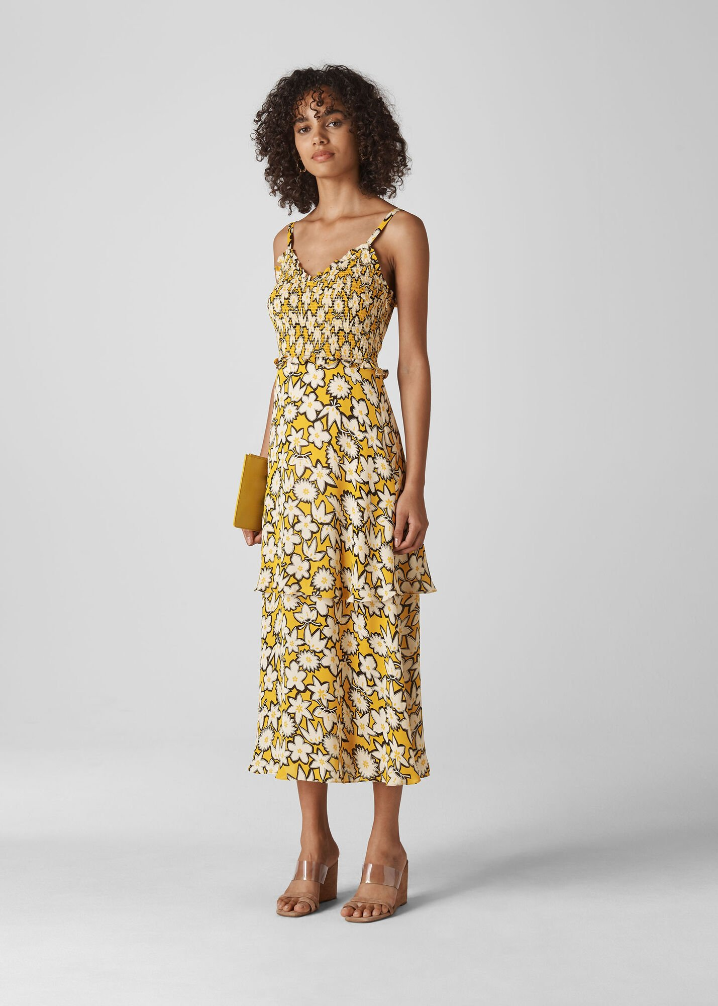 Nyla Floral Print Silk Dress