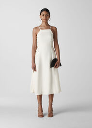 Nina Button Linen Dress White