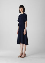 Belted Midi Dress Navy