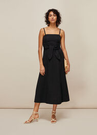 Linen Tie Front Strappy Dress Black