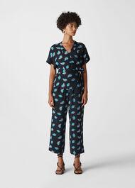 Coral Print Trouser Blue/Multi