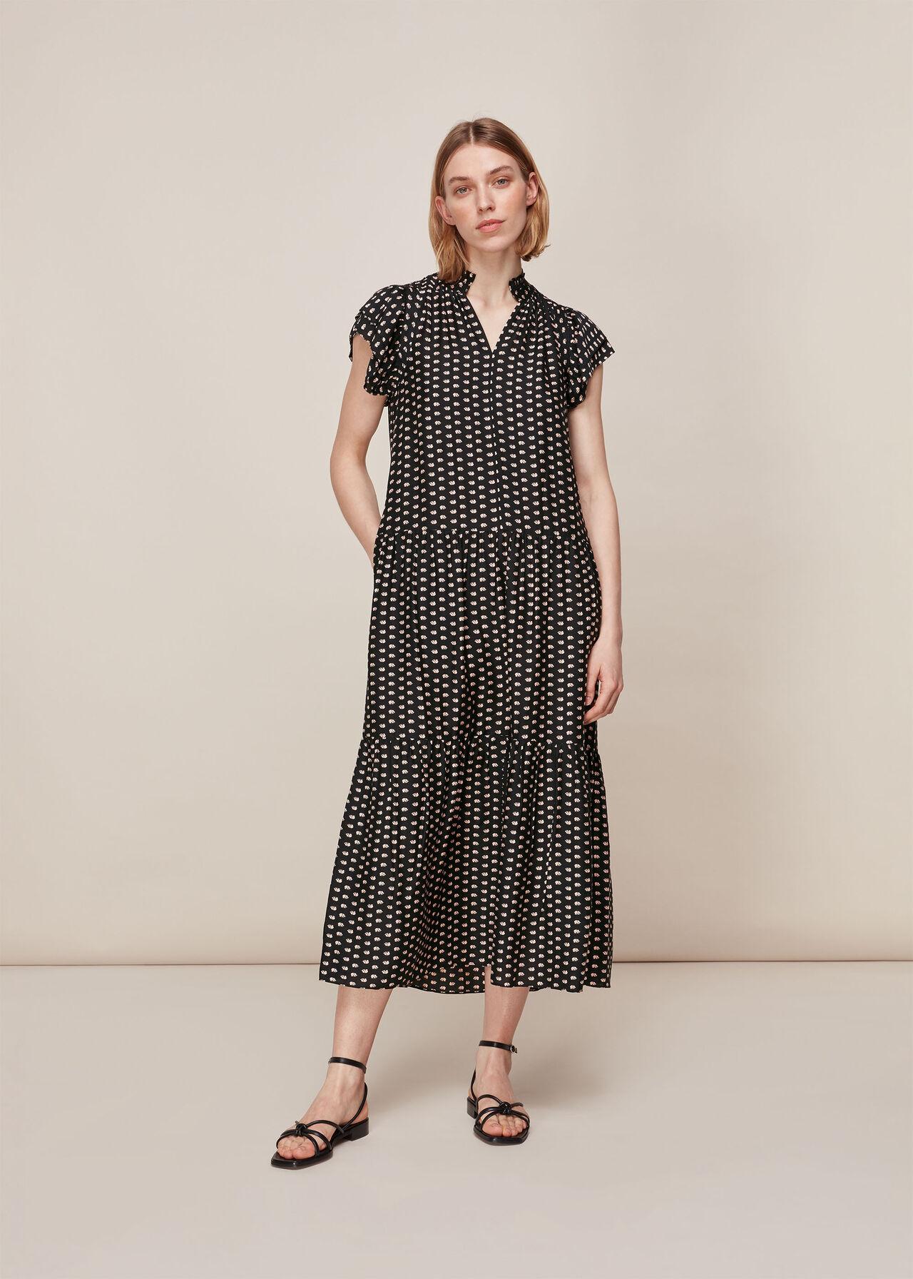 Elephant Silk Mix Midi Dress Black/Multi