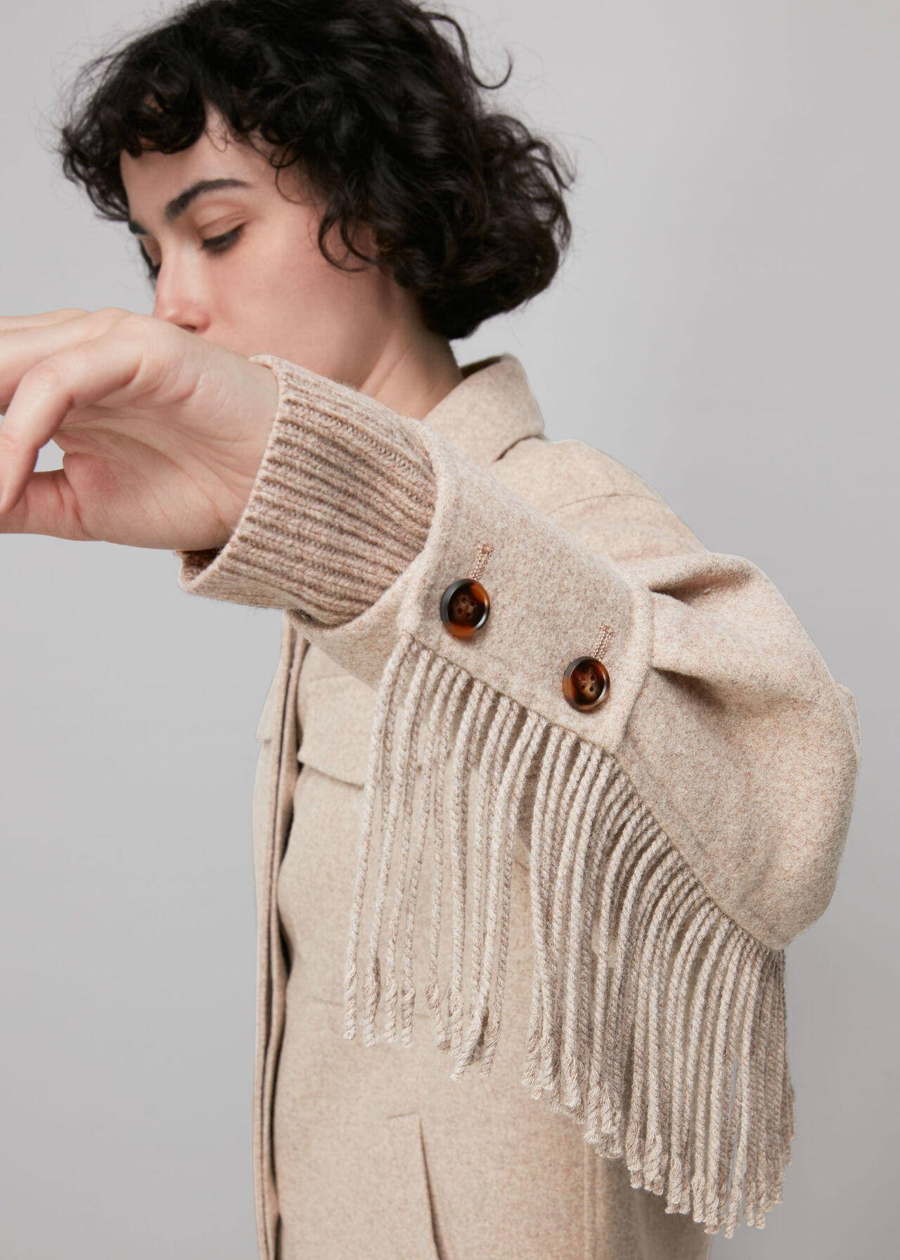 Fringe Detail Wool Overshirt