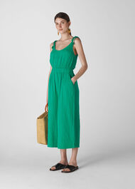 Mila Textured Casual Jumpsuit Green