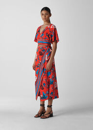 Scarf Print Border Wrap Skirt Red/Multi