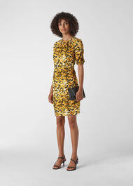 Ikat Animal Silk Bodycon Yellow/Multi