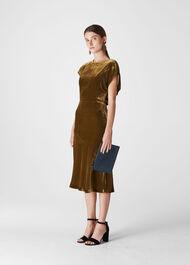 Mina Silk Mix Velvet Dress Gold