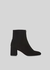 Rowan Suede Zip Front Boot Black