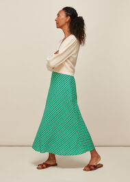 Elephant Print Bias Cut Skirt Green/Multi