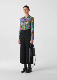 Simone Floral Print Silk Shirt Multicolour