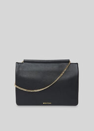 Nala Chain Foldover Clutch Black