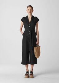 Sana Linen Button Jumpsuit Black