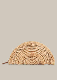 Santino Fringe Straw Clutch Neutral