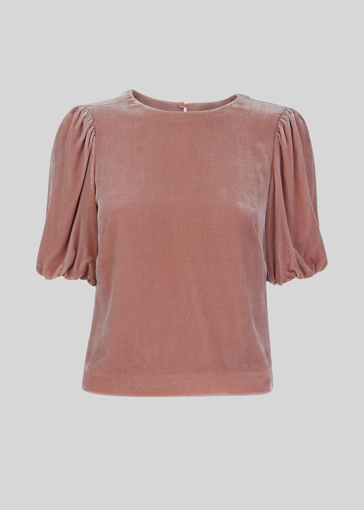 Velvet Silk Mix Top Pale Pink