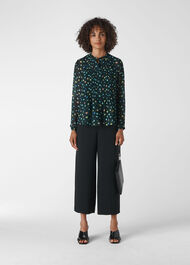 Scattered Floral Pintuck Shirt Green/Multi