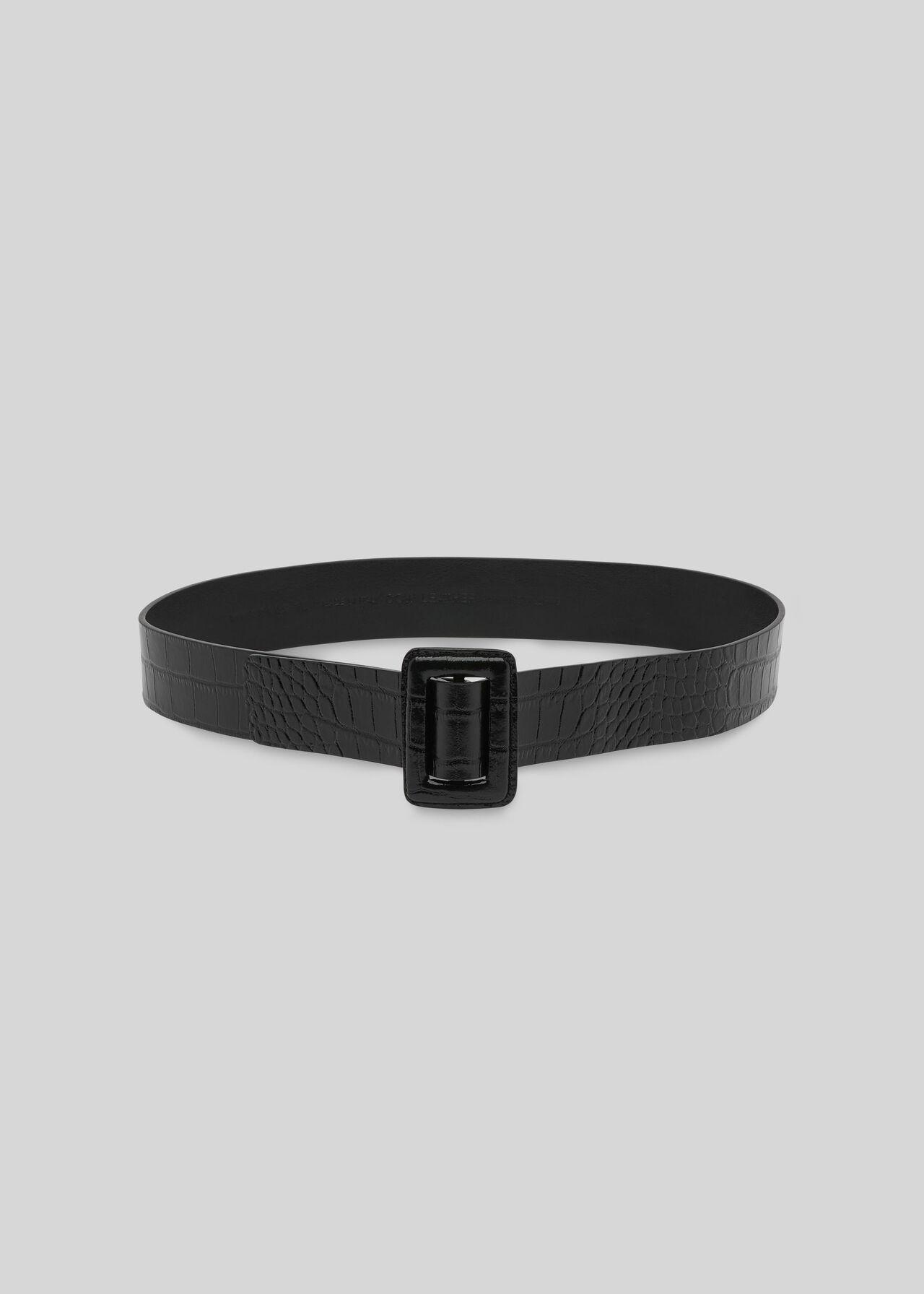 Croc Leather Belt Black