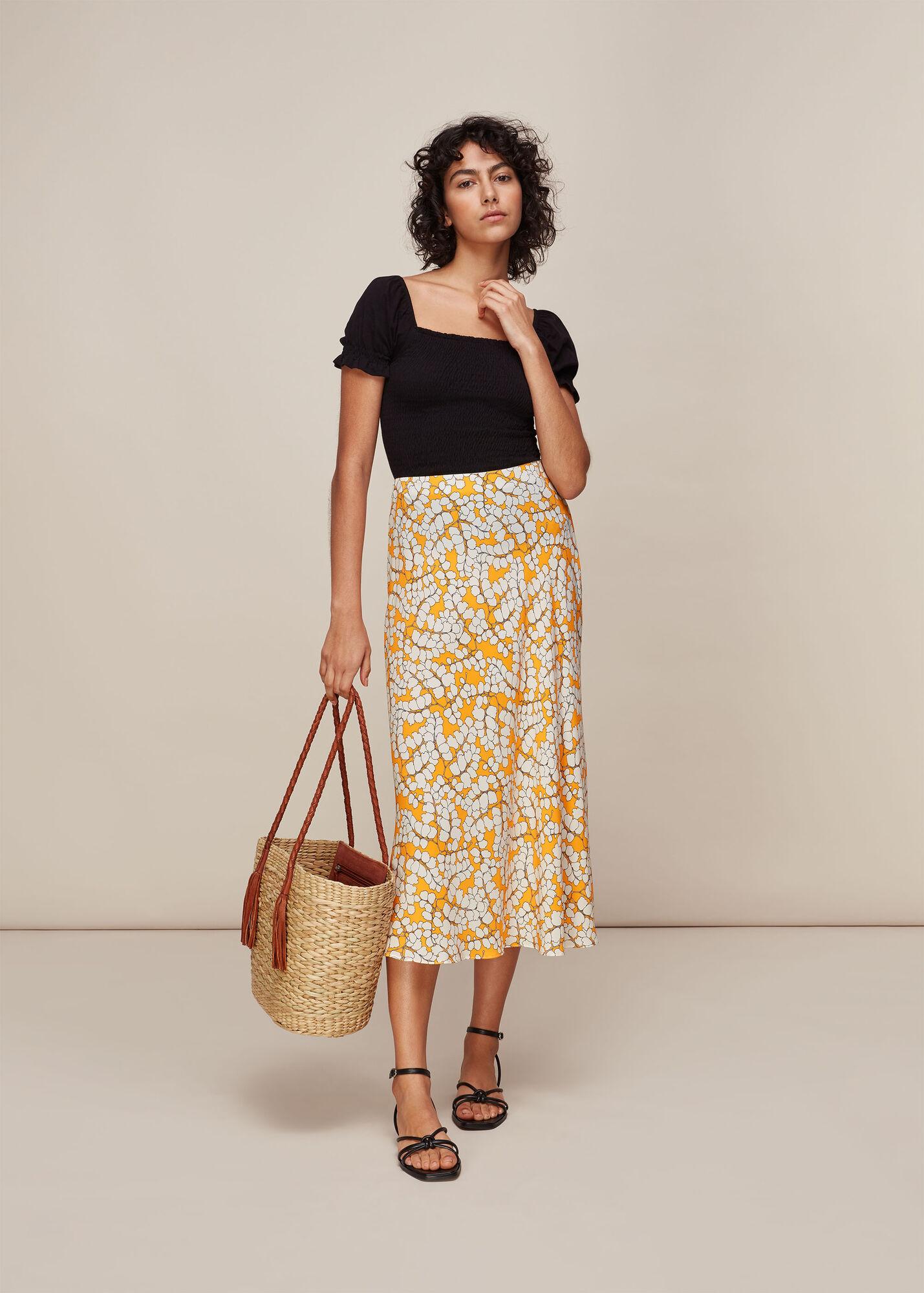 Spring Blossom Silk Skirt