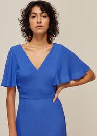 Cathy Frill Hem Dress Blue