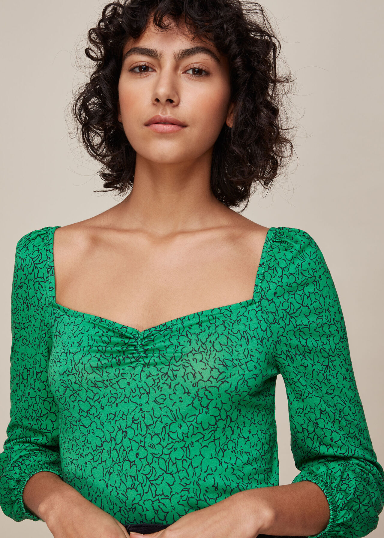 Sketched Floral Sweetheart Top Green/Multi