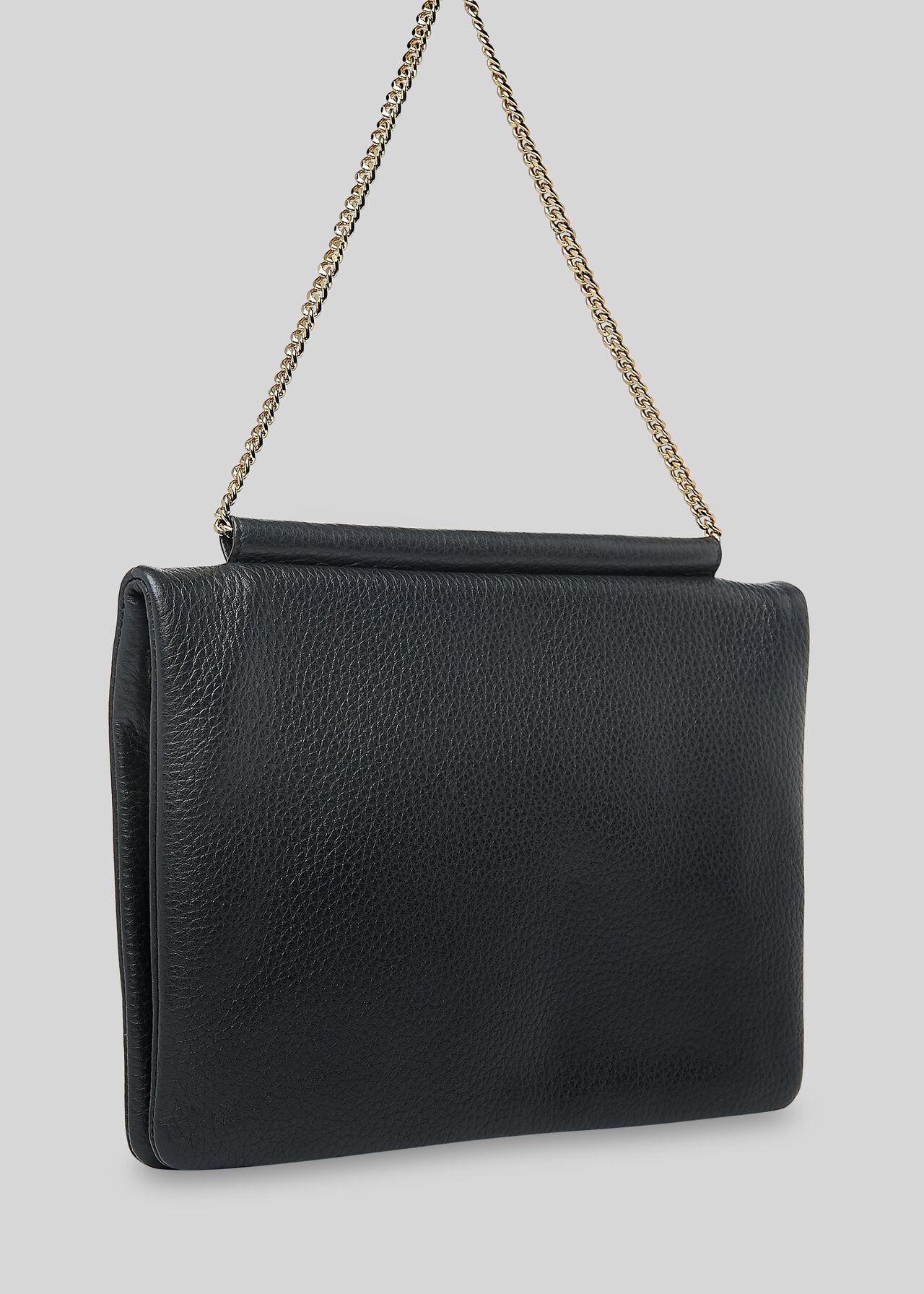 Nala Chain Foldover Clutch Black